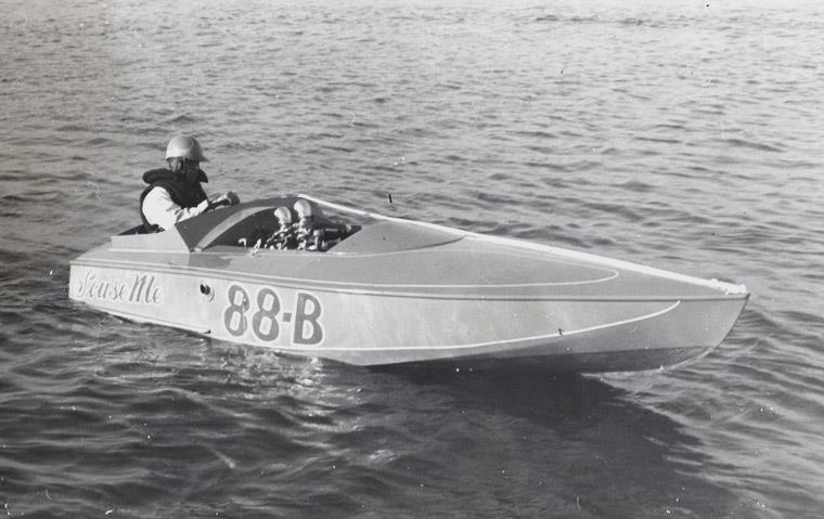"The first race boat in the family, ""S'cuse Me"", 88-B in 1952. Owner/driver was my dad, Eddie Silva."